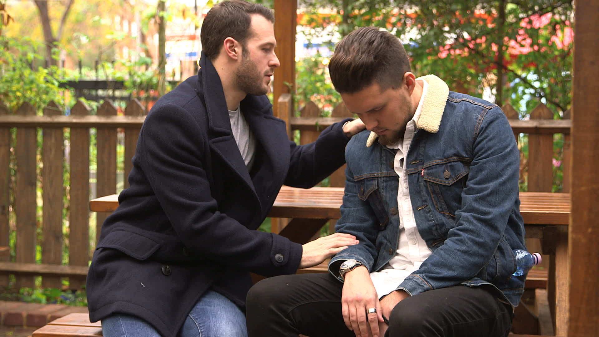 Aaron calvert hypnotising George on a bench in hello stranger for channel 4
