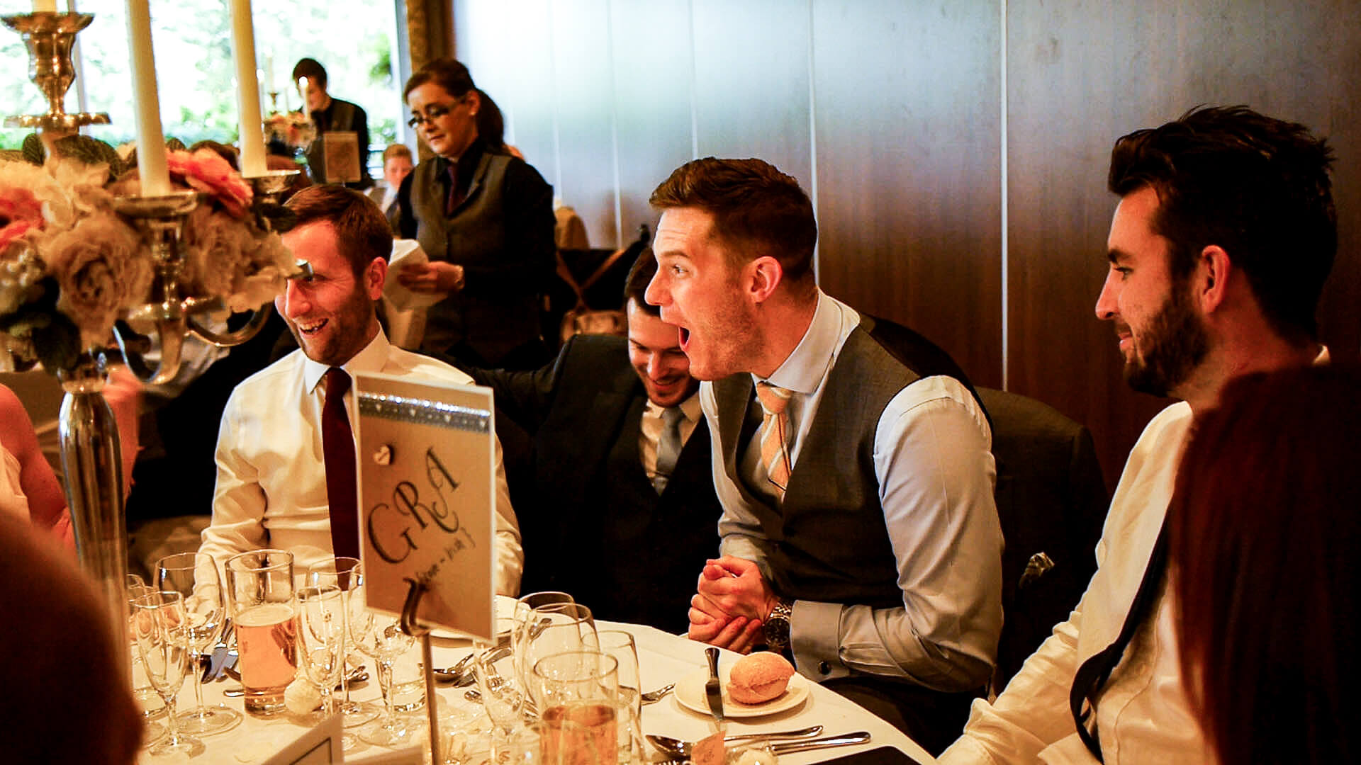 Manchester wedding magician entertaining guests with mind reading and hypnosis with entertainment during wedding breakfast
