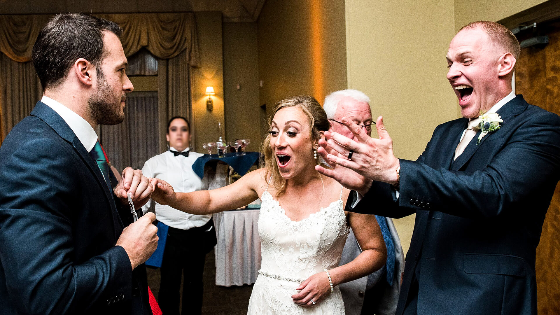 Manchester wedding magician aaron calvert blowing bride and grrom away at manchester wedding