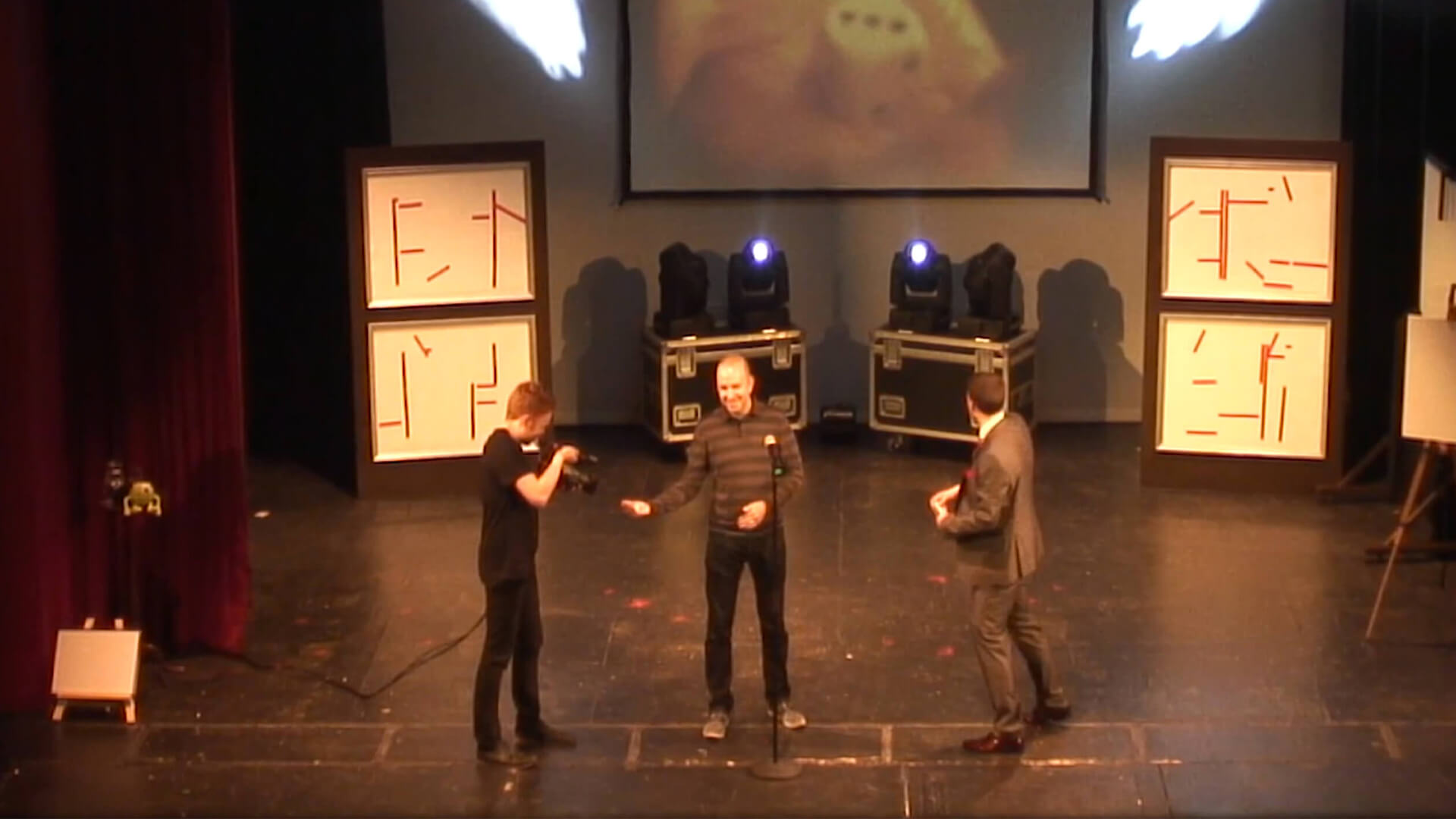 Manchester magician Aaron Calvert in a theatre performing stage entertainment