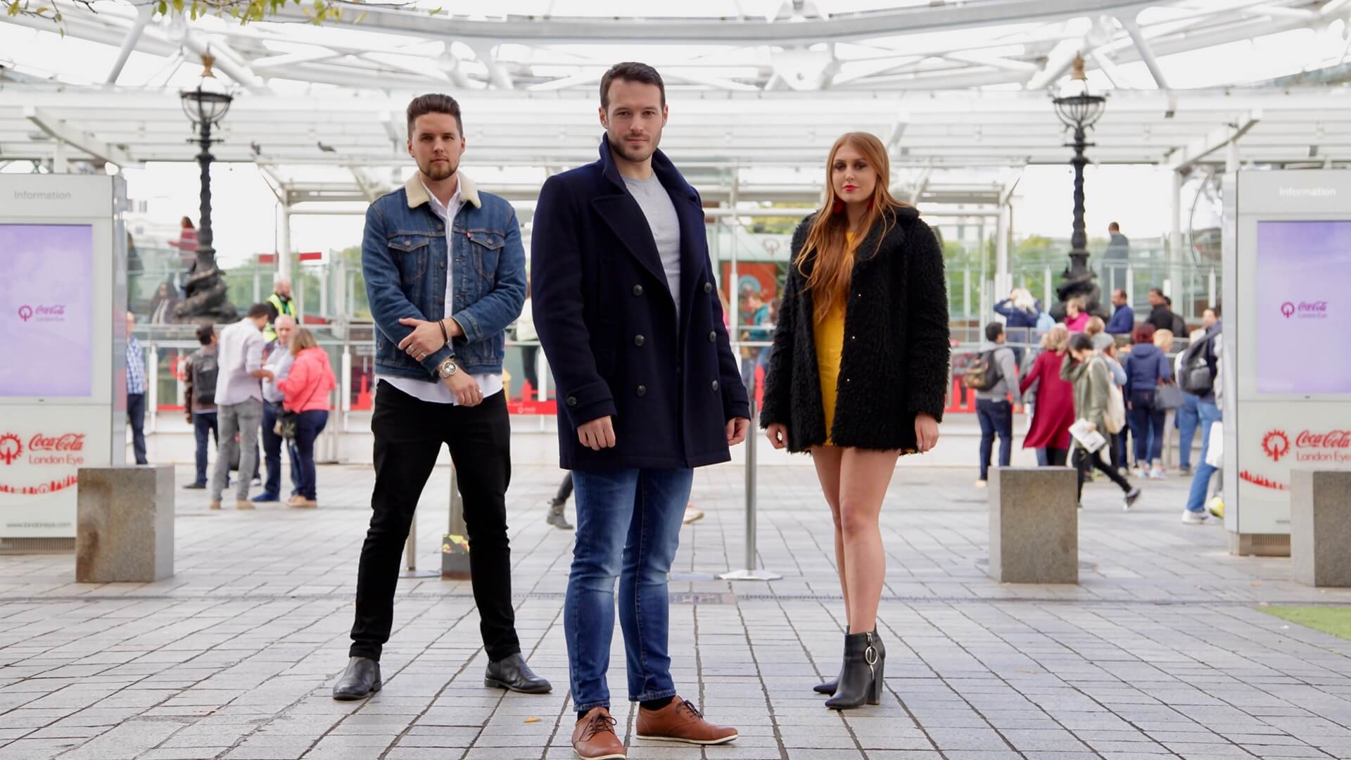 Manchester mind reader and hypnotist stood with two other people ready for channel 4 debut