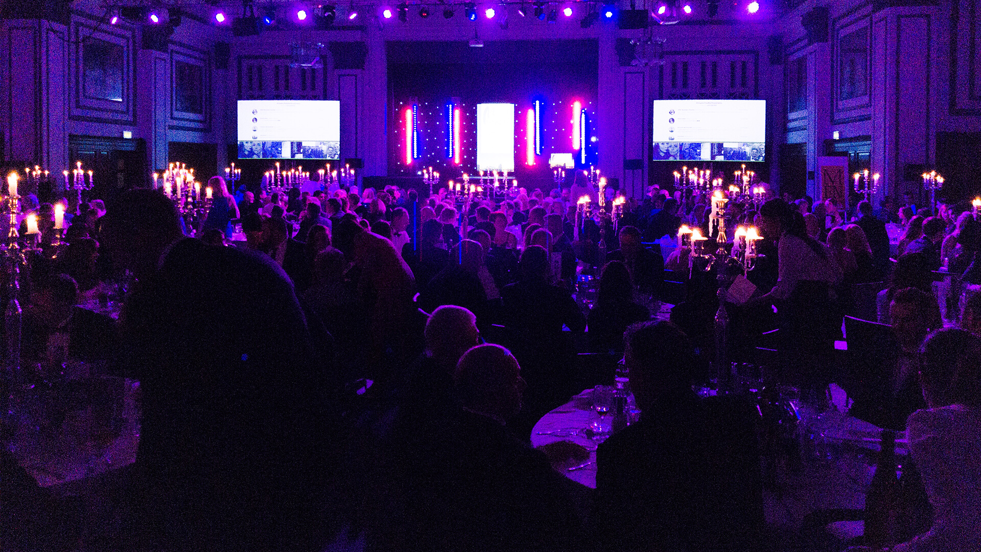 Corporate event stage set for Aaron Calvert at manchester corporate event